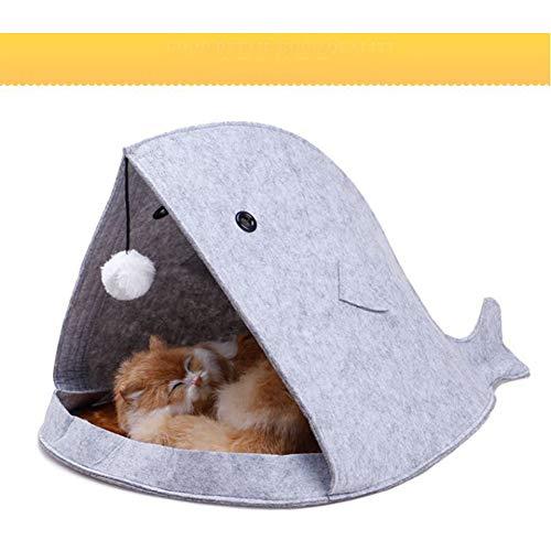 Cama de nido de perro con forma de tiburón cálido para mascotas,...