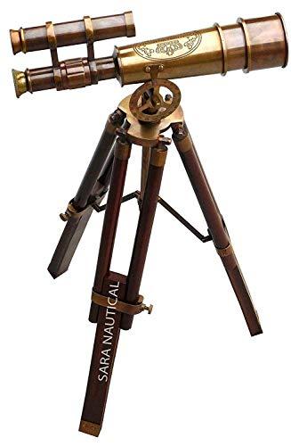 Calvin Antique Marine nautische antike Messing-Teleskop mit Stativ aus Holz Sammlerstück Schreibtisch Dekor | Tolle Inneneinrichtungen, Geschenk, Vogelbeobachtung Childern Toys