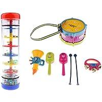 Sharplace 1 Set Caja de Mano Tambor Rainmaker Palo de Lluvia para Niños Bebé Niño Juguete Musical