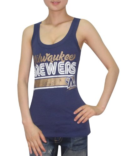 MLB Womens Milwaukee Brewers Athletic Crew-Neck Tank Top (Vintage Look) Blue
