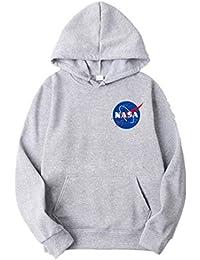 ZBSPORT Hombre Unisex Sudaderas con Capucha NASA Impreso Arte Suéter Cuello  Redondo de Mangas Largas (Negro Azul Gris Blanco… 89047f7debe