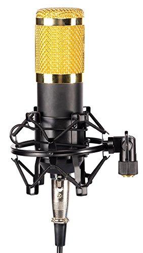 Alneo Essentials Kondensator Mikrofon-Set incl. Shock Mount Mikrofonhalter Mikrofonspinne, Mikrofonkabel XLR auf 3,5 mm Mini Klinke und Windschutz für PC, Laptop, Computer, Home Recording, Broadcasting, Karaoke, Gaming, YouTube, Video Chat usw
