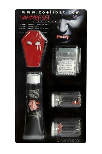 ake-up Vampirset mit weißen Kontaktlinsen, Vampirzähne, Kunstblut und Kleber, 1er Pack(1 x 1 Stück) ()
