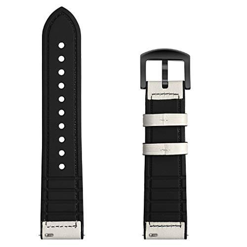 Beisoug 20mm Silikon + Leder Verstellbarer Ersatzriemen für Samsung Galaxy Watch 42mm