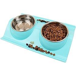 Da.Wa 1pc Caramelo Color Tazón de Fuente Doble para el Gato y Perro de Animal Doméstico Cuencos Comedero para Mascotas