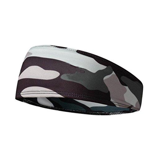 Y56 Elastisches Schweißband Stirnband Herren Männer Camouflage Haar Head Kopf Band Stretch Wrap Elastische Sport Gym Kopfband Haarband (Camouflage)