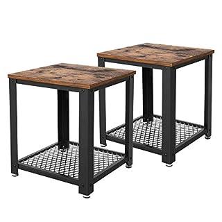 VASAGLE Table d'Appoint 2 Tables de Chevet Table Basse avec Rangement Armature en métal pour Cuisine, Chambre Style Industriel Look Vintage Aspect usagé Table rétro LET82X