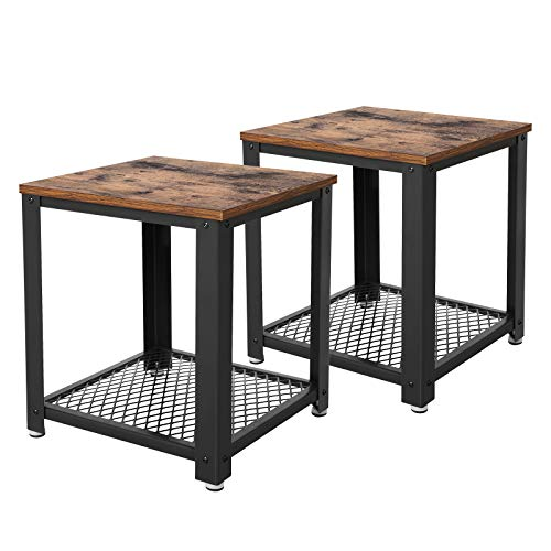 VASAGLE Nachttisch 2er Set, Beistelltisch, Kaffeetisch mit Stauraum, Vintage Abstelltisch, stabil mit Metallbeine, einfache Montage LET82X