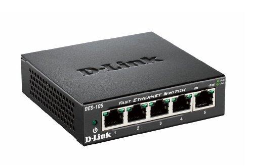 D-Link DES-105 5-Port Layer2 Fast Ethernet Switch Metall (10/100 Mbit/s, einfache Plug & Play-Installation, automatische MDI/MDIX-Anpassung, automatische Geschwindigkeitserkennung, lüfterlos) (2-port-ethernet-router)