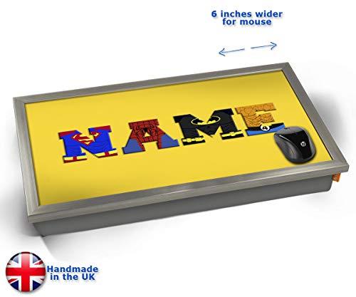 Yellow Superhero Personalised Childrens Name Cushioned Bean Bag Laptop Lap Tray Desk - Built-in EMF...