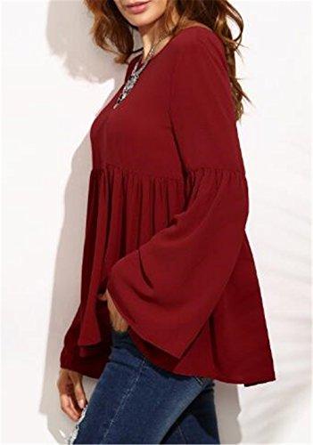 AILIENT ElÉGant Blouse Femme Manches à Trompette Chic Sexy Col Rond Plier Top Loose Tee Shirt Chemise Décontractée red