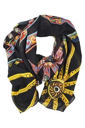 Foulard ruota di carretto siciliano per donna in chiffon di seta con stampe artistiche che nascono da quadri. Misura 180x70cm. Scialle donna. Made in Italy.