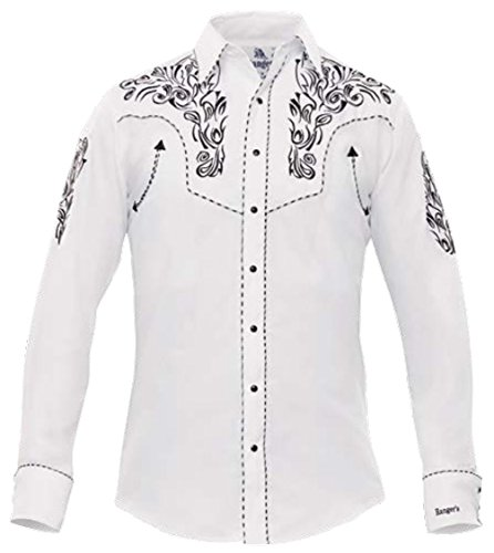 Modestone Men's Embroidered Long Sleeved Fitted Western Hemd Filigree White L (Dickies-comfort-taille)