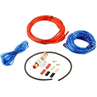 Funnyrunstore Metal Amplificador de subwoofer de audio para el automóvil de 800 vatios Cableado de AMP Portafusibles Soporte de cable de alambre Kit de instalación Distorsión de bajo ruido (rojo + azul + negro)