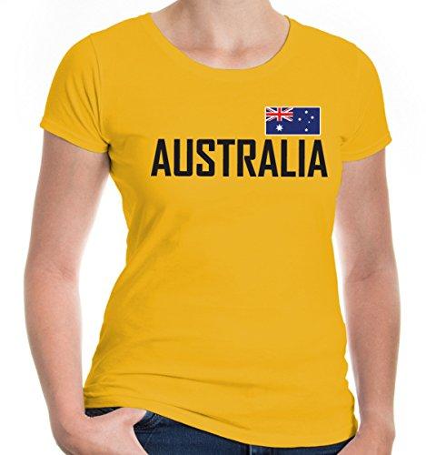e T-Shirt Australien | Australia Australie Ozeanien | Ländershirt Fanshirt Flagge | L, Gelb (Kostüme Für Männer In Australien)