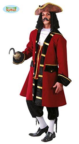 rotes Piratenkapitän Kostüm für Herren in Gr. M/L, (Fluch Outfits Der Karibik)