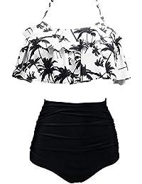 588881563a AOQUSSQOA Femme Vintage Taille Haute Volants Maillot de Bain Mignon Bikini  2 Pièces