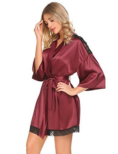 Meaneor_Fashion_Origin Damen Sexy Satin Kimono Morgenmantel Bademäntel V Ausschnitt mit Gürtel und Spitze Burgund