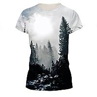 SEVENWELL Unisex Creative 3D Impresión T-Shirts Digital Impreso Tops Divertido Patrón Tees Hombres Mujeres