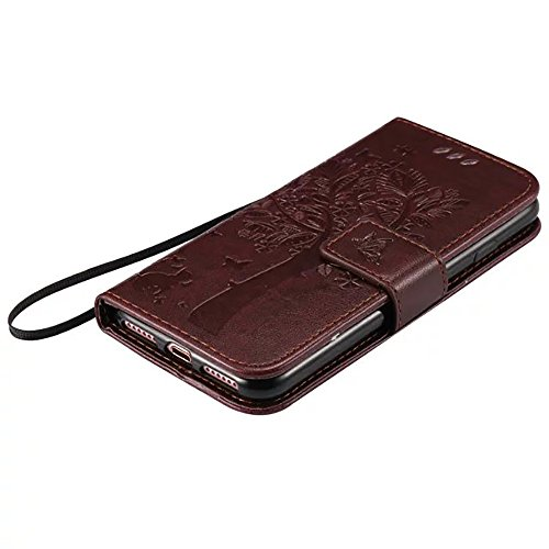DaYiYang Case Cover IPhone 7 Fall, geprägte Blumen Katze und Baum-Kasten, Normallack PU-lederner Fall-Silikon-Abdeckungs-Wallet-Standplatz mit Handbügel für iPhone 7 ( Color : Rose ) Dark Brown