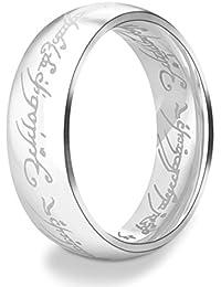 Dalaran Anillos de acero inoxidable para hombres Mujeres Los señores de los anillos de plata /