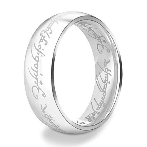 "DALARAN Die Herren der Ringe 316L Edelstahl Ringe Silber Eternity Band für Frauen Silber 52 (16.6)""MEHRWEG"""