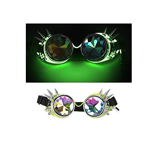 AKUT Rave Festival Steampunk Brille Kaleidoskop Goggles Rainbow Crystal - Viktorianischen Starker Mann Kostüm