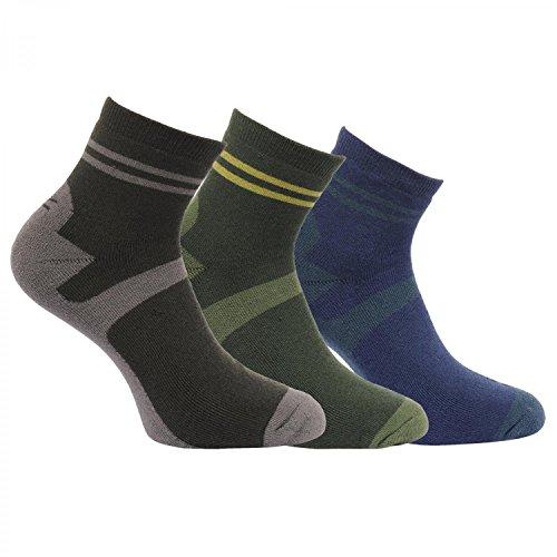 Regatta Great Outdoors Herren Walking-Socken, 3er-Pack (39-42 EU) (Schwarz/Olive/Marineblau)