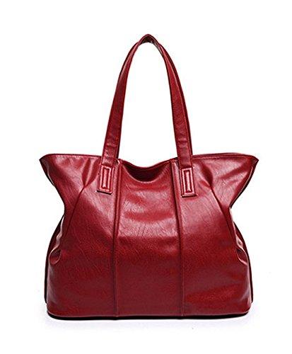 Damen Handtaschen, Hobo-Bags, Schultertaschen, Beutel, Beuteltaschen, Trend-Bags, Velours, Veloursleder, Wildleder, Tasche Rot PU Keshi