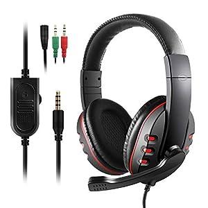 JAMSWALL Gaming-Kopfhörer für PS4, Xbox One S, JAMSWALL 3,5 mm Overhead-Stereo-Gaming-Headset Kopfhörer mit Mikrofon und Lautstärkeregler für Sony PC Tablet Laptop Smartphone Xbox One