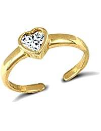 Jewelco London Ladies Solid 9ct Yellow Gold White Heart Cubic Zirconia Solitaire Love Heart Toe Ring