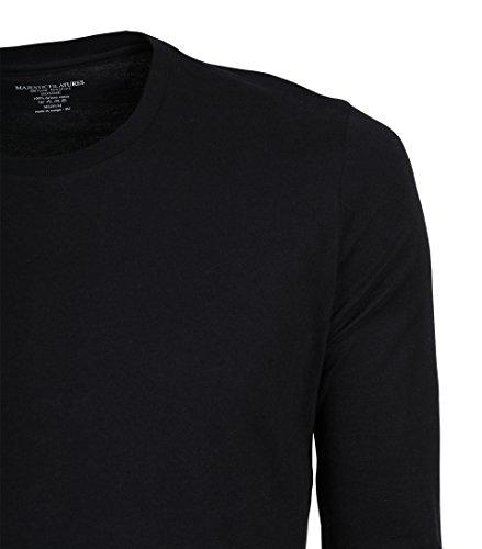 Majestic Herren Langarmshirt Baumwolle in Schwarz 002 noir