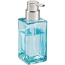 mDesign Dispensador de jabón en espuma rellenable de 414 ml – Refinado dosificador de jabón de cristal con válvula – Dispensador de jabón de manos – Ideal para la cocina o el baño – Color azul