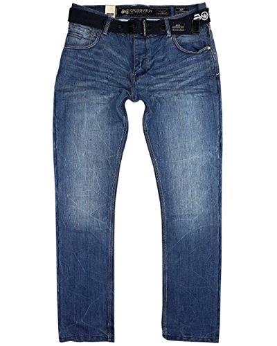 Jeans Crosshatch New Embossed Techno SW Mid Stonewash