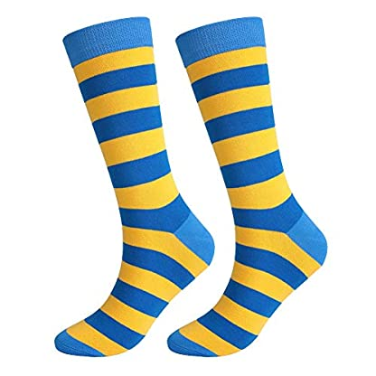 Monbedos Men'S Socks Yellow Blue Striped Pattern Cotton Mansocks Warm Socks For Protecting Men And Women'S Feet 1 Pair 1
