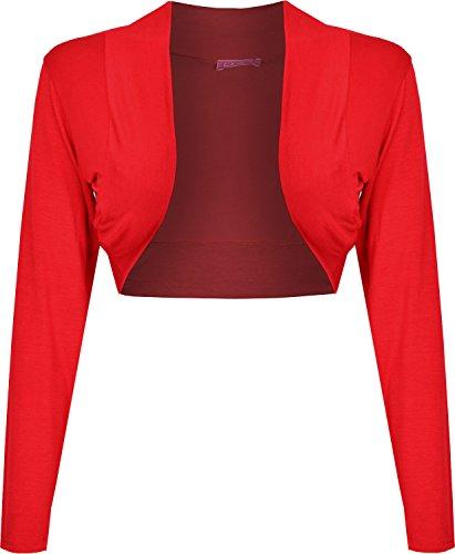 Mesdames à manches longues Boléro court Viscose Jersey Top Femmes UK 8–22 Multicolore - Rouge