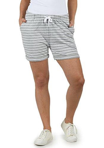 DESIRES Lena Damen Sweatshorts Bermuda Shorts Kurze Hose mit Stretch-Material und Streifen-Muster Regular Fit, Größe:M, Farbe:L. Grey/WH (8242W)
