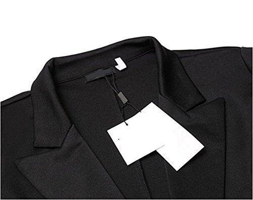Manteau Veste Jacke Trenche Coat Tops Volant Elegante et Charmante Noir