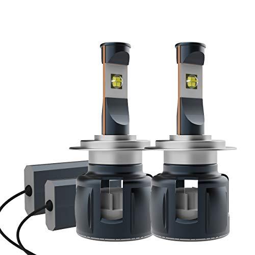 Lampadine LED H7 per fari auto, ad alta potenza, 120 W, 12000 lm, CC 12 V/24 V, 6500 K, luce bianca pura, chip XHP70 LED, ventola turbo (confezione da 2)