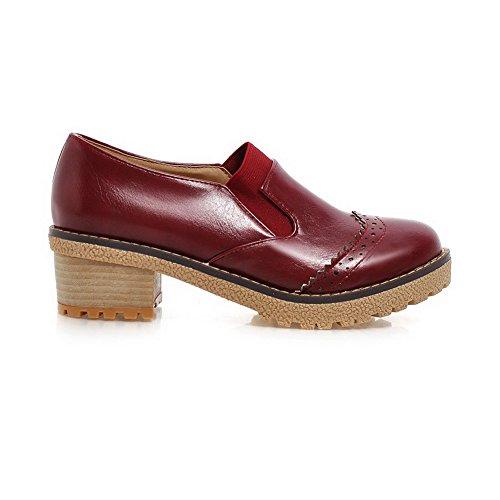 AllhqFashion Femme Tire Pu Cuir Rond à Talon Correct Couleur Unie Chaussures Légeres Rouge Vineux