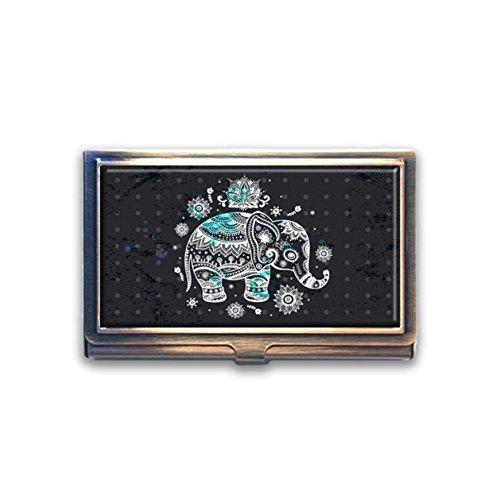 jkfgweeryhrt Indischer Elefant mit Blumenmuster Custom Tragbare Business Bank Name Card Case Halter Box Tasche Kreditkarte ID Geldbörse