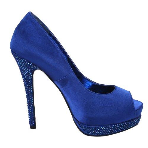 BordelloBELLA-12R - Scarpe peep toe Donna (Royal Blue Satin/Royal Blue Satin)