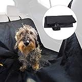 Relaxdays Hundedecke Auto, Mit 4 Kopfstützengurten, wasserdichte Schondecke für Rückbank, B x T: 136 x 142 cm, schwarz