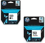 HP 123 Ink Cartridge Set, Black - F6V17AE & Tri-color - F6V