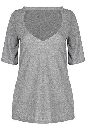 Oops Outlet Damen Tief V Plunge Ausgeschnitten Kurzärmlig Halsband Hals Baggy Pullover T-shirt Top Grau