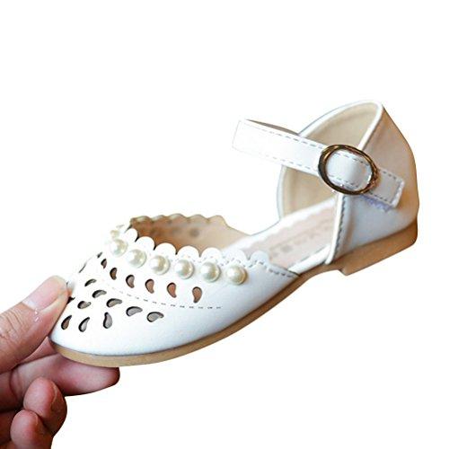 Brinny Sommer Kleinkind Mädchen hohl Strand Sandalen Prinzessin Ballerina elegante Perle flache Schuhe Weiß