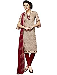 Radhey ArtsNew Designer Chikoo And Maroon Printed Cotton Dress Material With Matching Dupatta