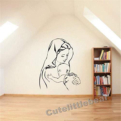 3D Etiqueta De La Pared Virgen María Y Jesús Madre Bebé Madonna Niño Pared De Vinilo Aart Sticker Decal 57 * 72Cm