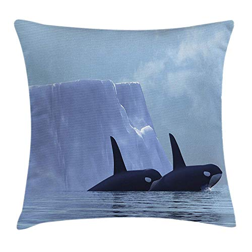 VTXWL Whale Throw Pillow Cushion Cover, Two Killer Whales Swimming Near an Iceberg in The Arctic...