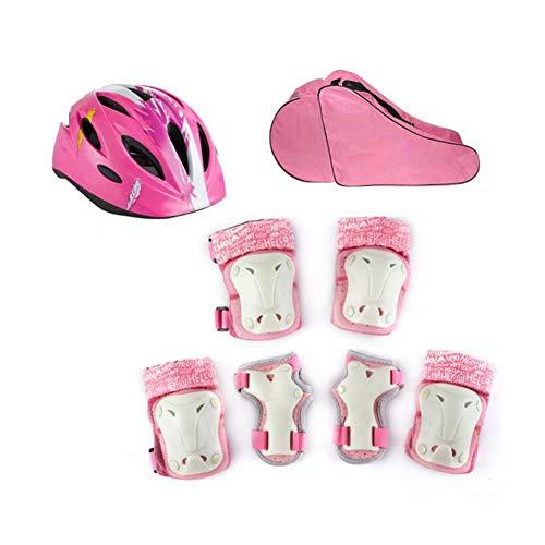 FF Kinder Helm Set Sicherheit Mit Schutzausrüstung Für Bike Scooter Skateboard Skate Für Kinder Jungen Und Mädchen (Farbe : Pink, Size : M)